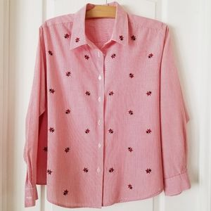 Vintage red and white pinstripe ladybug blouse